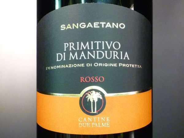 Cantine Due Palme Primitivo Di Manduria Sangaetano Rosso 2018