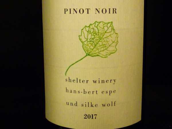Shelter Winery Pinot Noir 2017 Kenzingen -Restmenge-