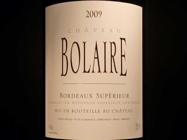Chat. Bolaire Bordeaux Superieur 2014