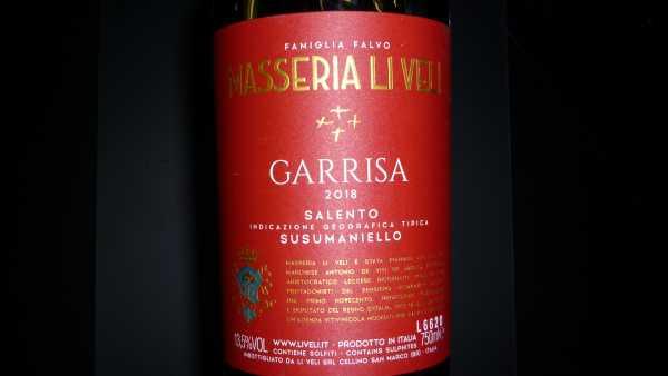 Masseria Li Veli Garrisa Susumaniello del Salento IGT 2018 -Restmenge-